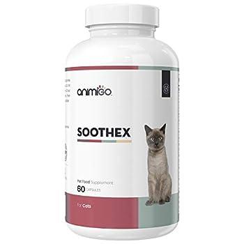 Animigo Soothex - Calmant pour Animal de Compagnie - Complément Alimentaire Apaisant Naturel pour Chat et Chaton, Idéal pour Transport, Contre Situations de Stress, Nervosité, Séparation - 60 Gélules