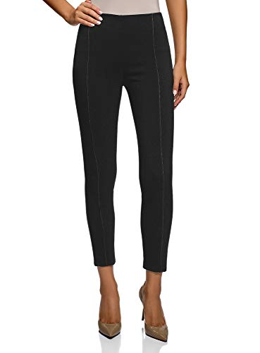 oodji Ultra Mujer Pantalones Stretch Ajustados, Negro, ES 40 / M