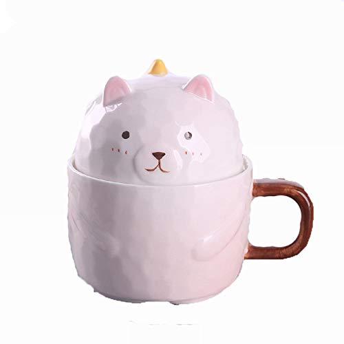 HMShun Mok Keramische Beker Vrouwelijke Mok met Cover Lepel Koffie Kantoor Water Cup Havermout Melk Ontbijt Poeder