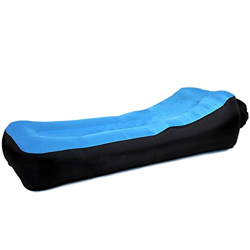 LYXCM Aufblasbares Sofa, Lazy Aufblasbarer Liegestuhl Tragbares Amphibien-luftsofabett, Das Zum Aufklappen des Aufblasbaren Bettes Im Bergsteigen Verwendet Wird,Blau