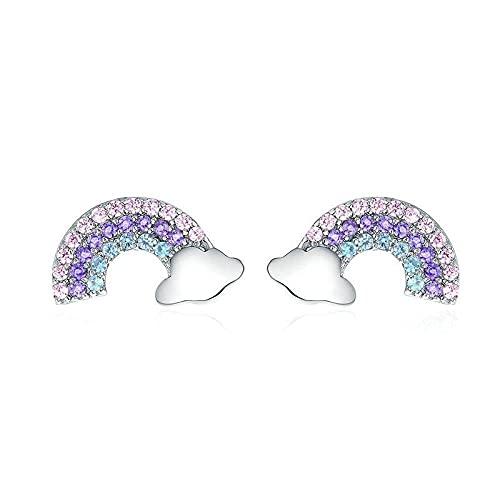 Pendientes Mujer Pendientes De Botón De Arco Iris De Amor Iridiscentes De Plata De Ley 925 Pendientes Pequeños De Circonita Colorida para Mujer Joyería Plata