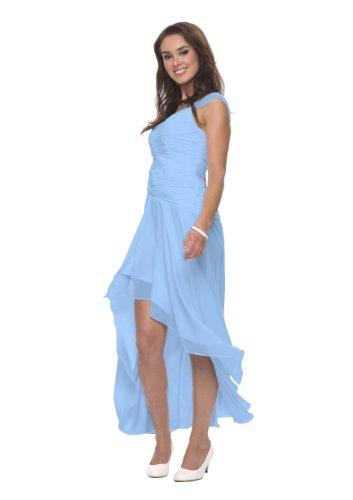 Astrapahl Damen Cocktail Kleid mit schönen Raffungen, Knielang, Einfarbig, Gr. 38, Blau (Hellblau)