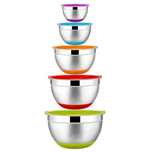 Homikit Rührschüssel Set, 5-teilig Edelstahl Schüssel Salatschüssel Set mit Deckel und Silikonboden für die Küche, Multifunktional, Stapelbar, Spülmaschinenfest, 6,6 L / 3.5 L / 2.5 L / 1.5 L / 1 L