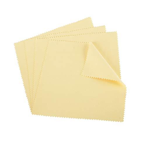 shlizak 4pcs 20x 20cm amarillo joyas gamuza de limpieza para Platinum dorado y plata de ley