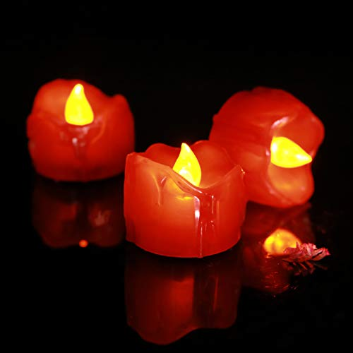 ICECON LED Flickering Candle, 120Pcs Battery Operated Red Flameless Tea Lights with Dripping Wax for Home Room Valentine'S Day Wedding Dinner Holiday Party Decor