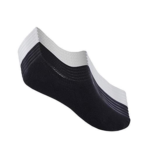 FALARY Calcetines Mujer Hombre 10 Pares Cortos Calcetines Invisibles tobillero Algodon Silicona Antideslizante Verano-negroblanco-3538