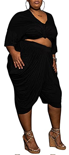 Plus Size 2 Piece Outfits for Women Loose Top Harem Pants Yoga...