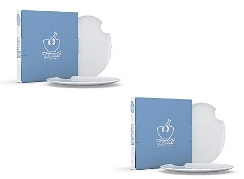 Fiftyeight Kuchenteller mit Biss - 4er Set - 20 cm, weiß