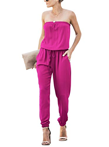 OMEYA Women Outfit Summer Jumpsuit Strapless Off Shoulder Elastic Waist Beam Foot Casual Evening Party Playsuit Romper Long Pants with Pockets Rose Red