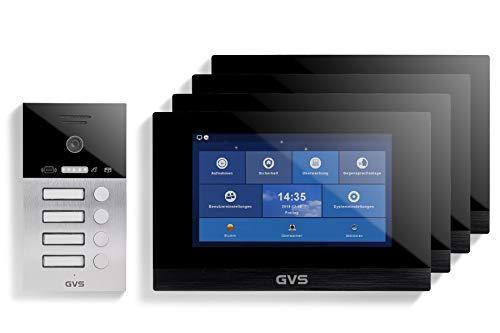 GVS AVS4072A - Videoportero de 4 cables/IP, IP65, con RFID, 4 monitores de 10 pulgadas, App, cámara HD de 120 °, apertura de puerta, 32 GB de memoria, conmutador PoE, 4 juegos de casa familiar