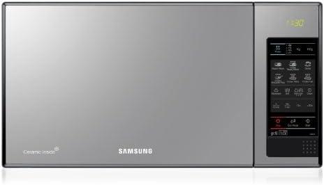 SAMSUNG GE83X Microondas con Grill, 23 Litros de Capacidad, Interior Cerámico Enamel, Potencia 800W/1200W, 6 niveles de potencia, Color Acero Espejo, 48.9 x 35.4 x 27.5 cm
