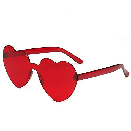 Isincer Gafas de sol con forma de corazón sin montura de policarbonato de color transparente Gafas de amor en forma de corazón