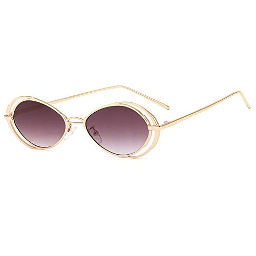 Powzz ornament Gafas de solovaladas pequeñas Vintage paramujer, gafas de sol punk retro para hombre, anteojos Steampunk, gafas de metal, gafas unisex UV400-6_Universal