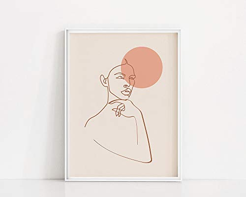 Mujer Line Art Print|Mujer de lnea mnima|Cartel de la luna del melocotn|Del arte de Brown Line|Cuadro Decorativo Sin Marco Lnea Femenina Minimalista A59 50x70cm