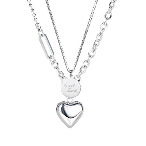 Blowin Collar con colgante de corazón y cadena de acero inoxidable para mujeres y niñas