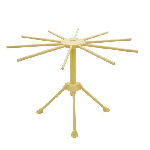 Anzirose Tacapasta Stendipasta in ABS Plastica Pasta Spaghetti Drying Rack Holder con 10 Bracci di 16cm -giallo