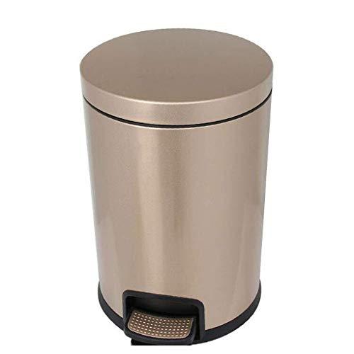 LIN-rlp en Acier Inoxydable Corbeille Pédale Sourdine Maison Cuisine Salon Salle de Bain Bureau 5L 12L Pied Trash Mute Pouvez Utiliser Anti-Empreintes digitales (Color : Gold, Size : 5L)