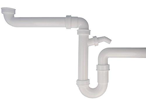 tecuro Raumsparer -Spülen Siphon Küchen Geruchsverschluß mit Wandrohr Ø 40 mm NEU