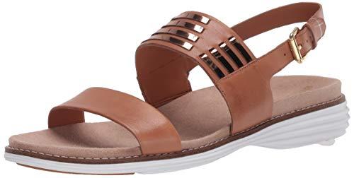 Cole Haan womens ORIGINALGRAND HUARACHE Sandal PECAN LEATHER/ROSE GOLD METALLIC/OPTIC WHITE 8 medium US