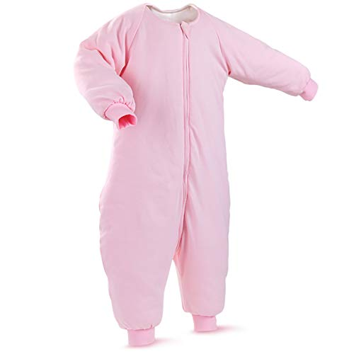 Baby Sleep Bag with Feet Winter, Wearable Blanket with Legs, Sack for Toddler Thicken 2.5 TOG (2T-4T Year, Pink)