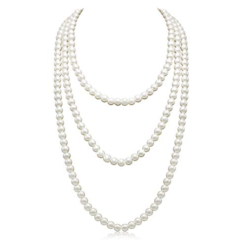 Long Pearl Necklace for Women Layered Cream White Faux Pearl Beads Strand Necklace Costume Jewelry,Diameter Pearl 8MM,69'