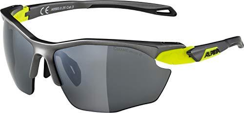 ALPINA Unisex - Erwachsene, TWIST FIVE HR CM+ Sportbrille, tin matt-neon yellow, One size