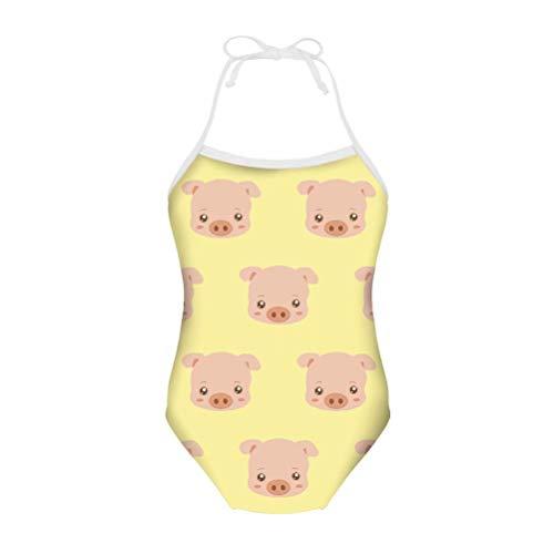 chaqlin - Traje de baño de una pieza con estampado de cerdos para niñas y niños, informal, para verano, playa, vacaciones, deporte, surf, para bebé de 3 a 8 años Cerdo Divertido-8 7-8 Años