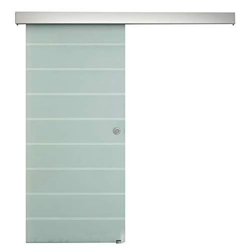 homcom Porta Scorrevole Interna in Vetro Smerigliato e Satinato con Binario B1 e Maniglia per Bagno Cucina Studio Vetro 205x 90x 0,8cm