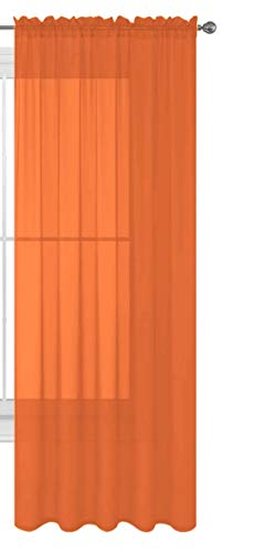 "Luxury Discounts 1 PC Solid Rod Pocket Sheer Window Curtain Treatment Drape Voile Panel in Variety of Colors (54"" X 84"", Orange)"