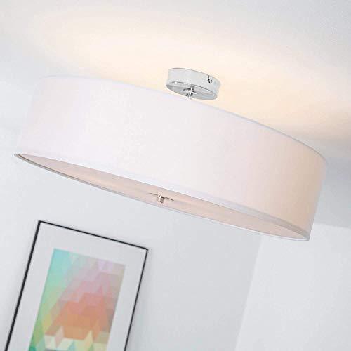 Lámpara de techo moderna con pantalla textil, 3 llamas, Ø 60 cm, 3x E27 max. 60W, Metal / Textil, Cromo / blanco