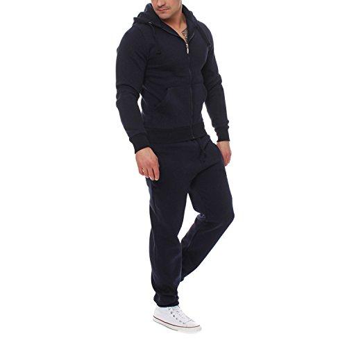 Bold Manner Ensemble Homme Sweatshirt + Pantalon de Sport Veste à Capuche Casual Survêtement Manche Longue Tenue de Jogging Sport Bleu X-Large