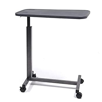 Lumex Modern Overbed Table with Wheels - 28-41  Adjustable Height for Hospital Bed & Home Bedside Use - Dark Grey GF8903PS