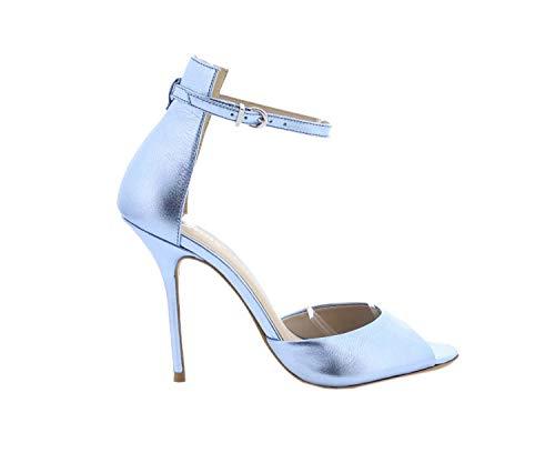 Bronx High Heels 84604-C Catarina Metallic Pumps Stiletto Peeptoe, Größe:38 EU, Farbe:Silber
