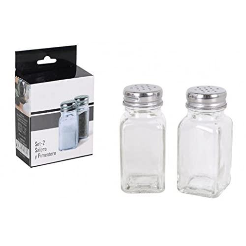 Pack 2 Salero y Pimentero de Cristal/ Juego de Salero y Pimentero Para Cocina/ Especiador Salero y Pimentero/ Juego de Salero y Pimenteros de Cristal 60ML