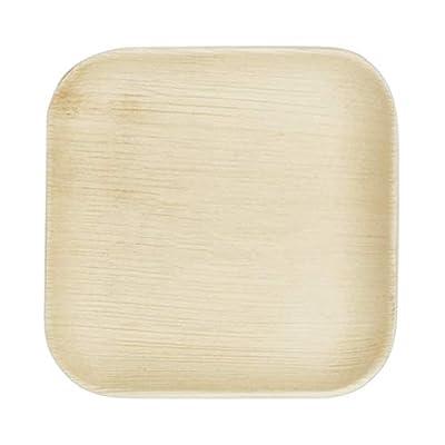 "VerTerra 6"" x 6"" Square Palm Leaf Plates - Compostable Dinnerware - Appetizer and Dessert Plates"