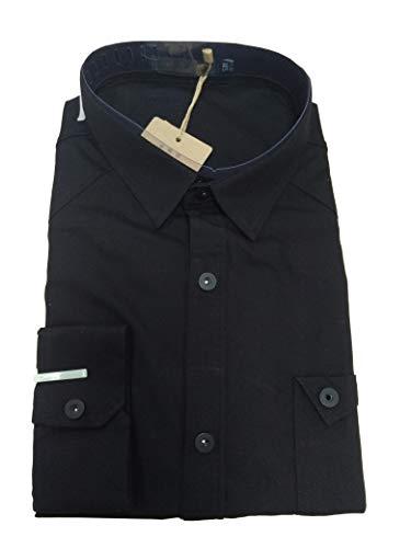 JZOEOEU Men's Casual Cotton Dress Shirt Long Sleeve Slim Fit Button Down Shirts Black Aisan L (US XS)
