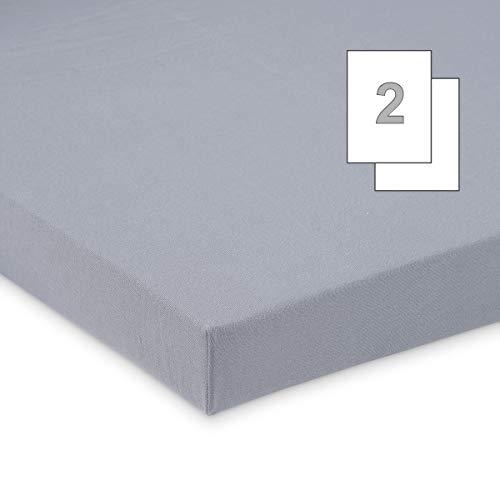 FabiMax 3675 Doppelpack Jersey Spannbettlaken für 6-eck Laufgitter, grau