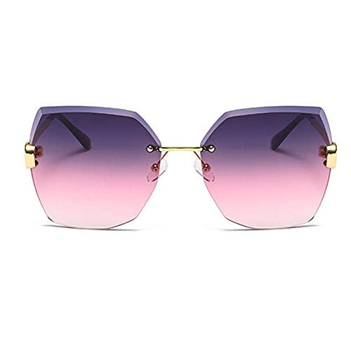 LOPIXUO Gafas de sol Gafas de sol gradiente de gran tamaño para mujer, sin montura, cuadradas, lentes de sol transparentes, estilo veraniego, gafas de sol para dama, gris rosa
