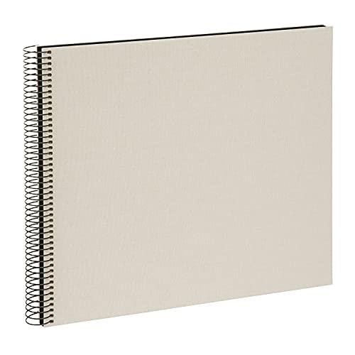 goldbuch 25523 Spiralalbum Bella Vista, Foto Album 35 x 30 cm, Fotoalbum mit 40 schwarze Seiten, Erinnerungsalbum aus Leinen, Fotobuch für Bilder und Fotos zum Einkleben, Sandgrau