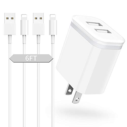 Phone Charger 6ft Cable with Wall Plug (Pack of 3), DECIPA Dual USB Wall Charger Adapter Block Cube with Charging Cord Replacement for iPhone Xs/Xs Max/XR/X 8/7/6/6S Plus 11 Pro SE/5S/5C, Pad, Pod