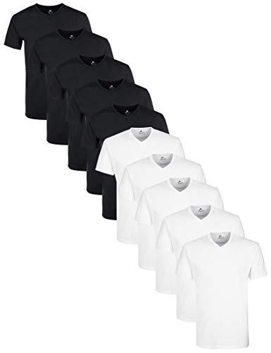 Lower East mit mit V-Ausschnitt T-Shirt, Mehrfarbig Schwarz/Weiß), Medium (Herstellergröße: M), 10er-Pack