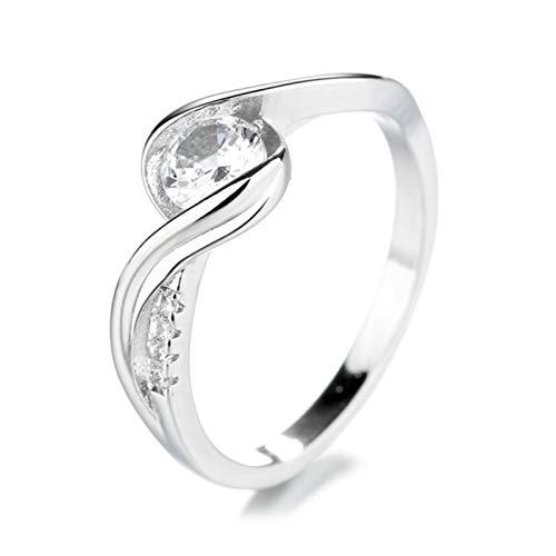 WFZ17 Diseño geométrico exquisito anillo de dedo bandas de diamantes de imitación con incrustaciones de anillos de joyería de regalo de plata US 8