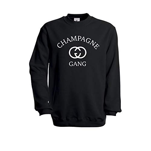 Champagne Gang Women Sweatshirt Pullover Jumper (Schwarz, S)
