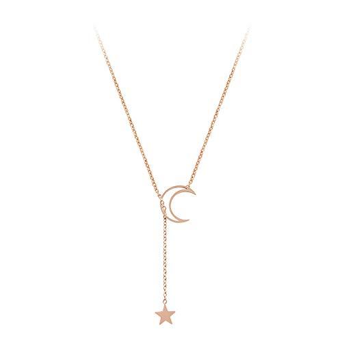 Gargantilla Collar Mujer Ins Viento frío Estrella y Luna Nicho Temperamento Diseño de oro rosa Colgante Cadena de clavícula Mujer