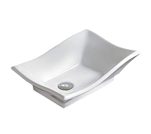 Bathroom White Ceramic Porcelain Vessel Vanity Sink 7459 + *FREE Pop Up Drain*
