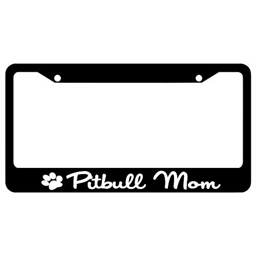 Pitbull Mom with Paw Print Customized Black License Plate Frame Tag, Humor Funny Auto Car License Plate Cover, Stainless Steel License Plate Frame Holder