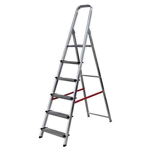Escalera de Tijera de Aluminio Peldaño Ancho 12 cm (6 Peldaños con Ancho 12 cm). BTF-TJB306