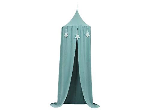 KraftKids Tienda de campaña colgante de muselina azul nilo, toldo de algodón para habitación infantil, 65 x 210 cm, incluye colchoneta para dormir