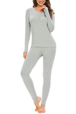 YOZLY Lightweight Thermal Underwear Womens Base Layer Set Henley Long Johns (Grey,L) by