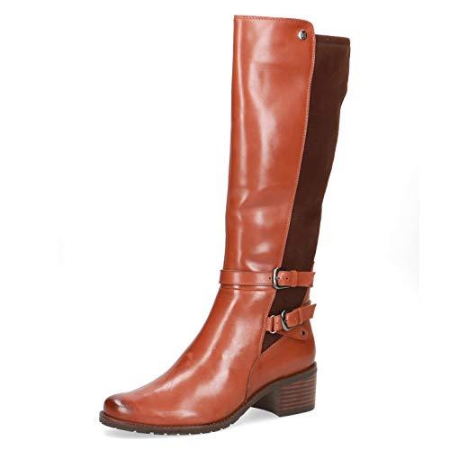 CAPRICE Damen Stiefel, weiblich Lady Ladies feminin elegant Women's Women Woman Freizeit leger Boots lederstiefel,Cognac Comb,41 EU / 7.5 UK